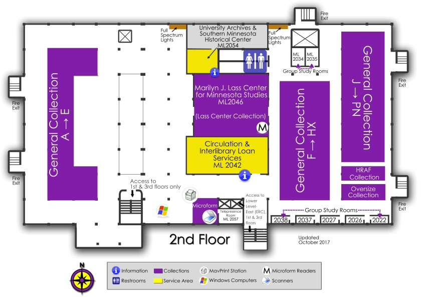 second floor map of Memorial Library